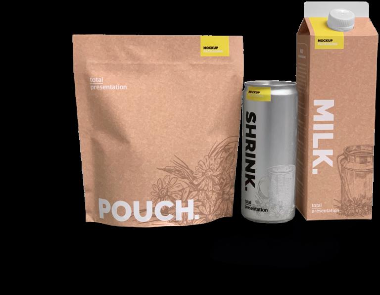 total presentation pack shrink pouche dummy packaging mockup