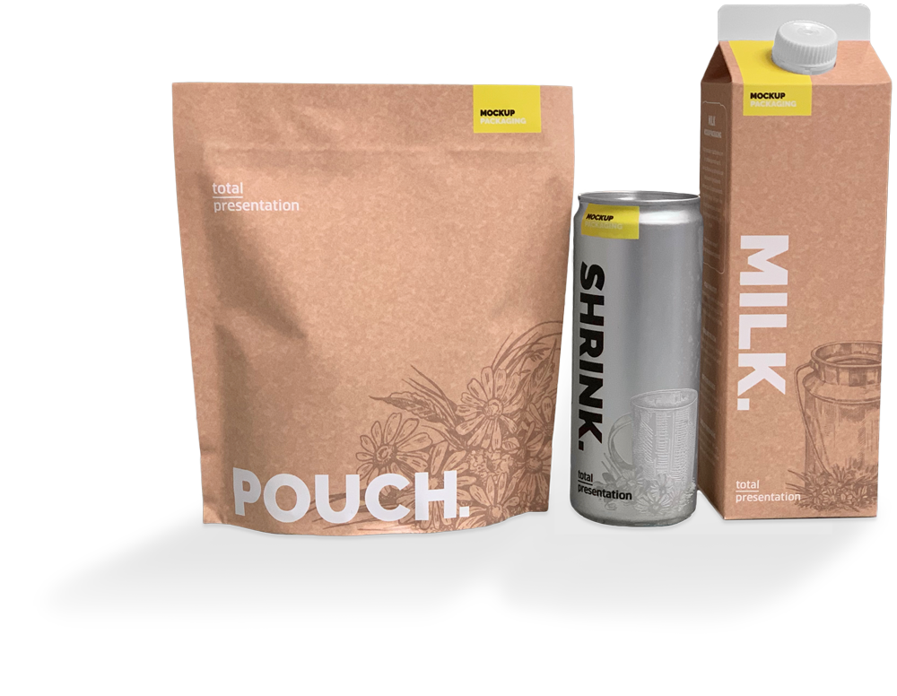 total presentation pack shrink pouche dummy packaging mockup